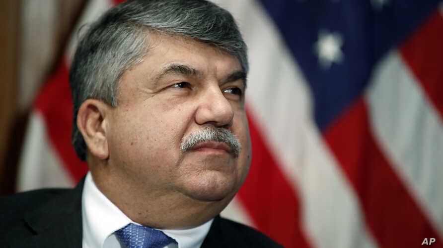 """In this April 4, 2017 file photo, AFL-CIO president Richard Trumka listens at the National Press Club in Washington. Trump tweeted Monday that AFL-CIO President Richard Trumka """"represented his union poorly on television this weekend."""""""