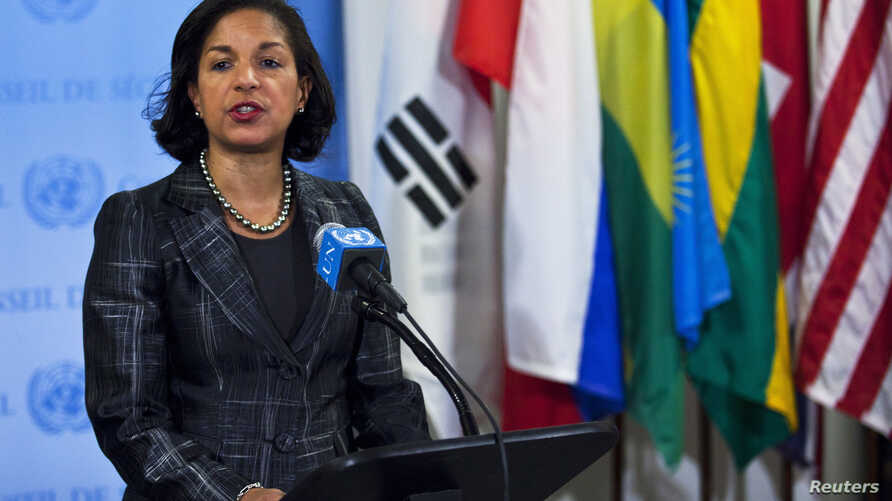 U.S. Ambassador to the United Nations Susan Rice speaks to the media at the U.N. headquarters in New York, February 12, 2013.