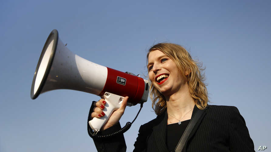 FILE - Chelsea Manning addresses participants at an anti-fracking rally in Baltimore, Maryland, April 18, 2018.