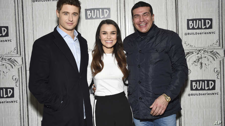 "Actors Max Irons (left) Samantha Barks and Tamer Hassan participate in the BUILD Speaker Series to discuss the film ""Bitter Harvest"" at AOL Studios, Feb. 16, 2017, in New York."