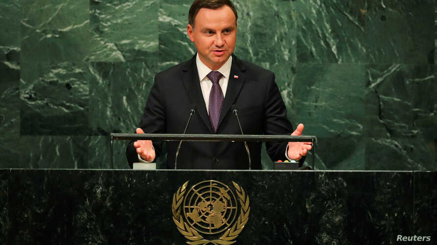 Polish President Andrzej Duda addresses the U.N. in New York, Sept. 20, 2016. On Wednesday, Dec. 14, 2016, Duda was asked by human rights group to veto a freedom of assembly bill.