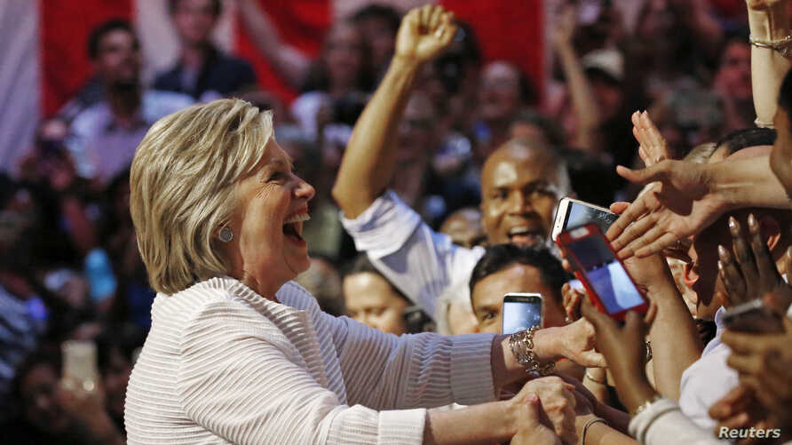 Democratic U.S. presidential candidate Hillary Clinton greets supporters during her California primary night rally held in the Brooklyn borough of New York, June 7, 2016.