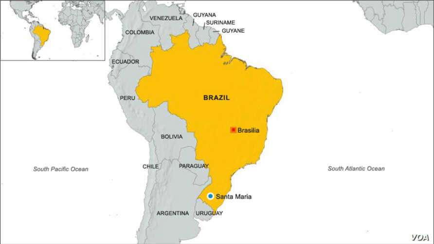 Brazil map, highlighting city of Santa Maria