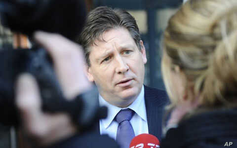 Danish defense lawyer, Niels Christian Strauss, of 29-year-old Somali man Mohamed Geele, talks to the press after his client was convicted of attempted terrorism and attempted murder for attacking a Danish cartoonist, February 3, 2011