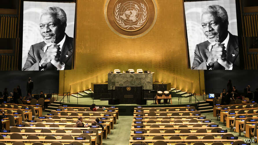 The tribute to the memory of His Excellency Kofi Annan, the seventh secretary-general of the United Nations in the General Assembly Hall, September 21, 2018, in the U.N. headquarters in New York.