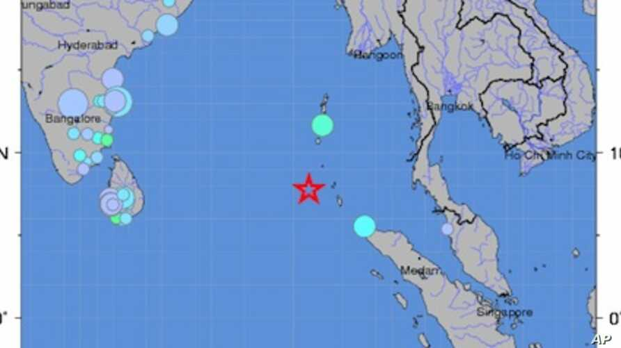 This map from the US Geological Survey shows the location of the 7.7 earthquake near India's Nicobar islands