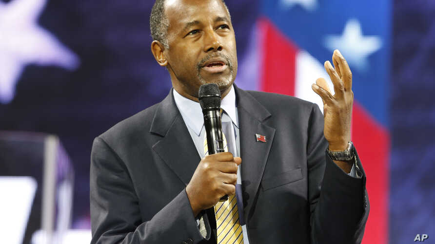 Dr. Ben Carson speaks at Liberty University in Lynchburg, Va., Nov. 11, 2015. The Republican presidential candidate claims he has documents proving Chinese involvement in Syria's civil war.