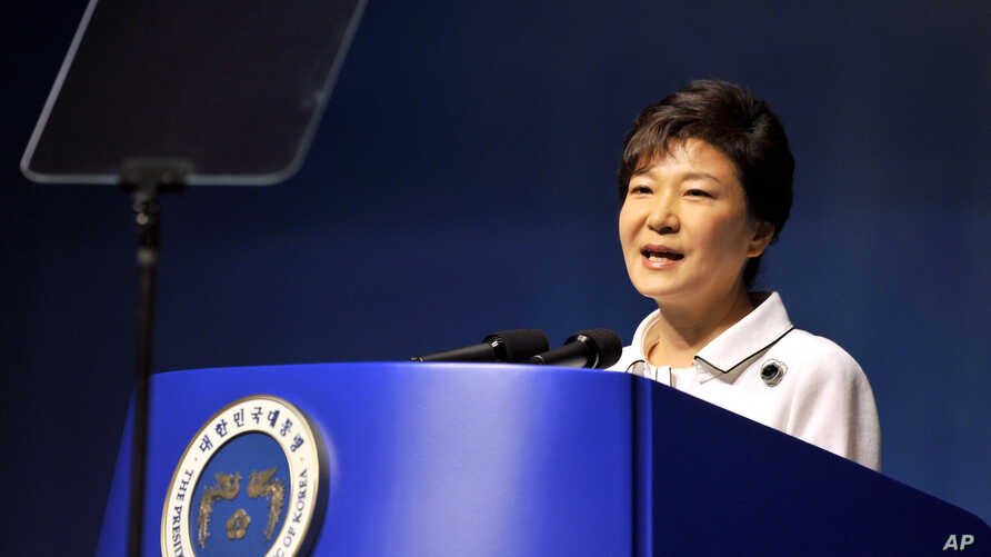 South Korean President Park Geun-hye delivers a speech during a ceremony marking the 68th anniversary of the liberation from the Japan's 1910-45 colonial rule, in Seoul, August 15, 2013.