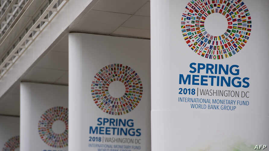 The World Bank Group Headquarters Building during the 2018 Spring Meetings of the International Monetary Fund and World Bank Group in Washington, April 17, 2018.