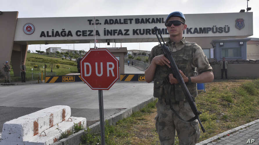A Turkish soldier guards the entrance to the prison complex in Aliaga, Izmir province, western Turkey, where jailed U.S. pastor Andrew Craig Brunson is appearing on his trial at a court inside the complex, May 7, 2018.
