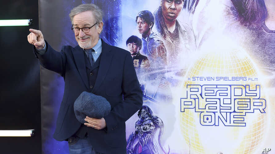 """Steven Spielberg arrives at the world premiere of """"Ready Player One"""" at the Dolby Theatre on Monday, March 26, 2018, in Los Angeles."""