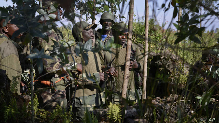 Congolese army commanders discuss tactics near Kibumba Hill, which is occupied by M23 rebels, around 25kms from the provincial capital Goma, in eastern Congo, Oct. 27, 2013.