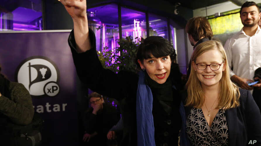 Birgitta Jonsdottir of the Pirate party (Pirater) reacts after the first results in Reykjavik, Iceland, Oct. 29, 2016.