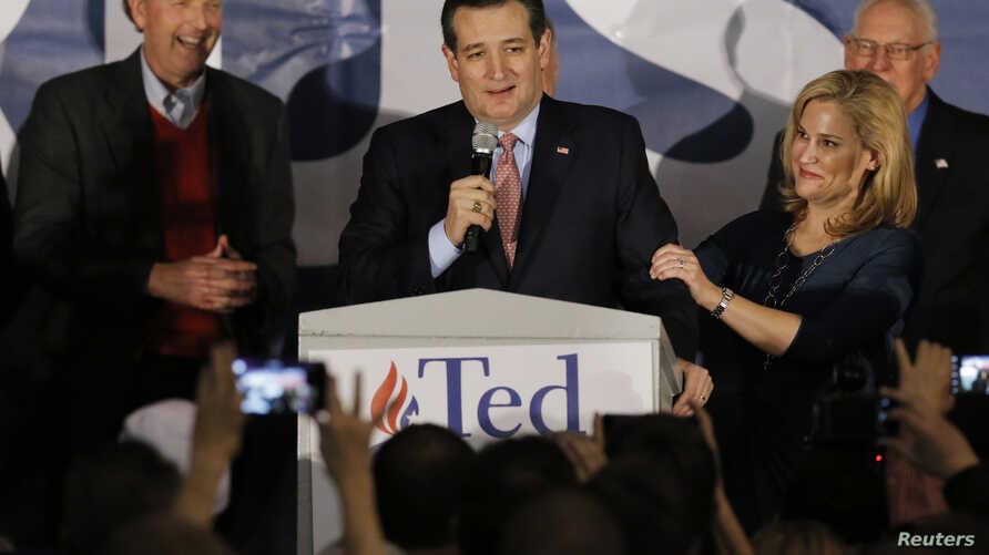 U.S. Republican presidential candidate Ted Cruz speaks, with his wife, Heidi Cruz, by his side, after winning the Iowa Republican caucus, in Des Moines, Iowa, Feb. 1, 2016.