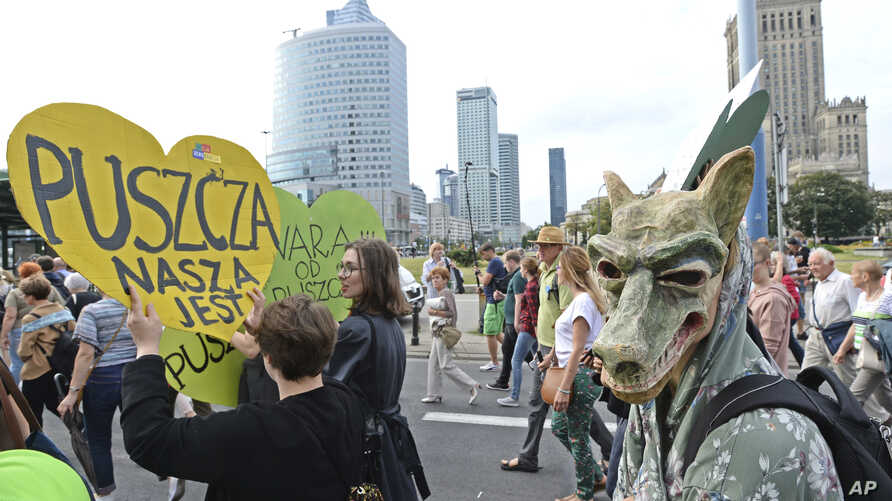 "Protesters march with placard reading ""The Forest is Ours"", demanding a stop to massive logging in the Bialowieza forest, one of Europe's last virgin woodlands, in Warsaw, Poland, June 24, 2017."