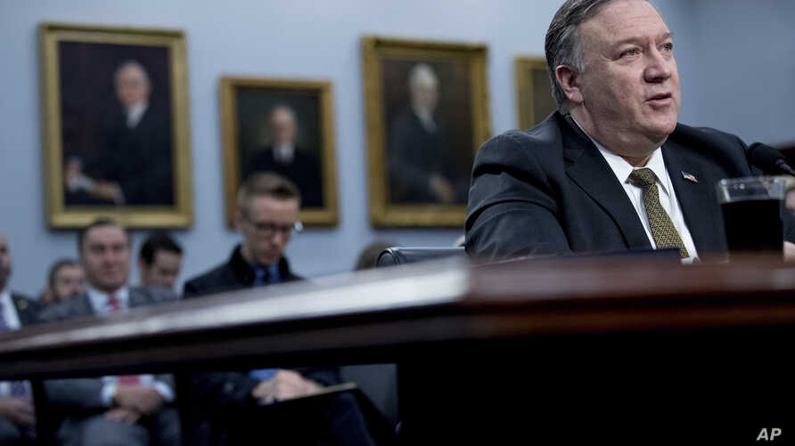 Secretary of State Mike Pompeo speaks before a House Appropriations subcommittee hearing on budget on Capitol Hill, March 27, 2019, in Washington.