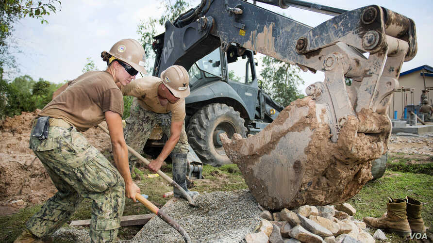Navy Seabees construct a five-stall bathroom for Sromo Primary School in Svay Rieng province, Cambodia, Jan. 9, 2017. (Photos by Navy Petty Officer 1st Class Benjamin A. Lewis)