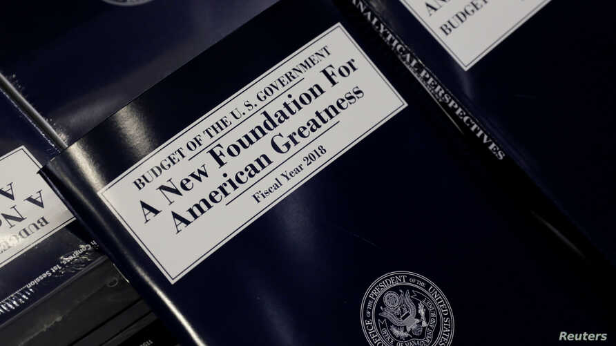 A copy of President Donald Trump's Fiscal Year 2018 budget is on display on Capitol Hill in Washington, May 23, 2017.