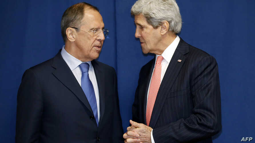 FILE - Russia's Foreign Minister Sergei Lavrov (L) and US Secretary of State John Kerry meet to discuss the Ukraine crisis .