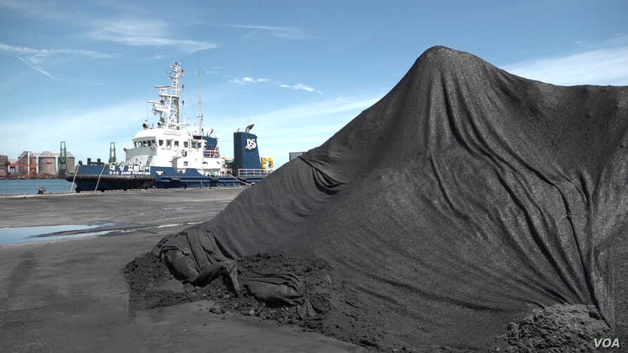 North Korean coal was unloaded onto the coal loading dock at the Port of Pohang, South Korea.
