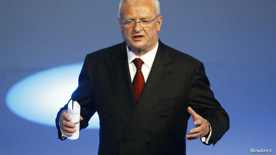 Volkswagen CEO Martin Winterkorn gives his closing speech during the Volkswagen group night ahead of the Frankfurt Motor Show (IAA) in Frankfurt, Germany, Sept. 14, 2015.