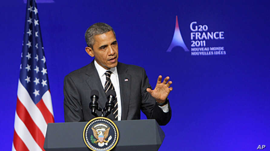 US President Barack Obama speaks during a media conference at a G20 summit in Cannes, France. Leaders from within troubled Europe and far beyond are working Friday on ways the International Monetary Fund could do more to calm Europe's debt crisis, No
