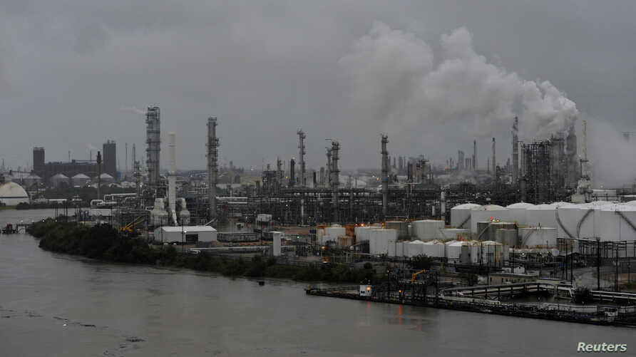 The Valero Houston Refinery is threatened by the swelling waters of the Buffalo Bayou after Hurricane Harvey inundated the Texas Gulf coast with rain, in Houston,  Aug. 27, 2017.