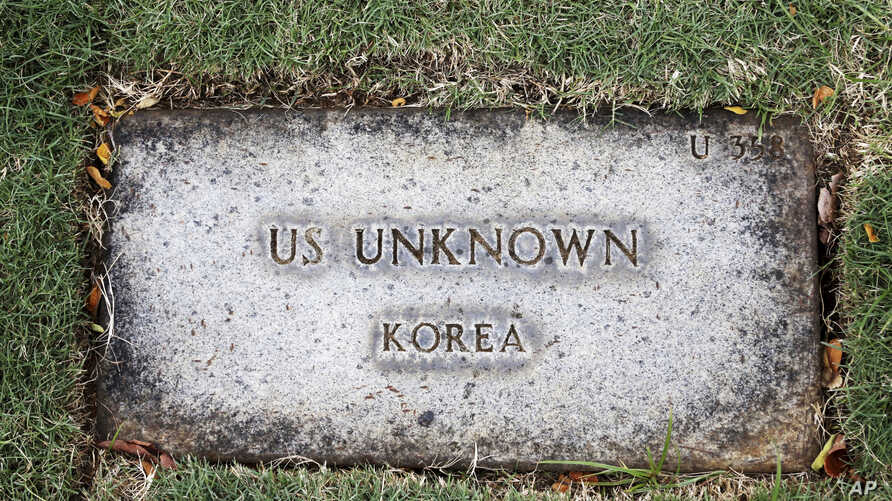 A grave marker for an unknown soldier from the Korean War is shown at the National Memorial Cemetery of the Pacific in Honolulu on Monday, July 30, 2018.