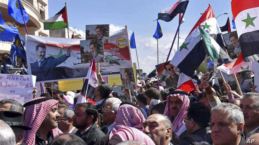 In this photo released by the Syrian official news agency SANA, Syrians hold national flags and portraits of Syrian President President Bashar Assad during a protest against President Donald Trump's move to recognize Israeli sovereignty over the occu