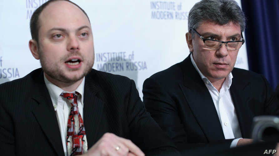 FILE - Vladimir Kara-Murza, pictured at a National Press Club news conference in Washington in January 2014, suffered rapid and sudden deterioration in his health last week, reportedly just hours before he was to leave Moscow for a trip to the United