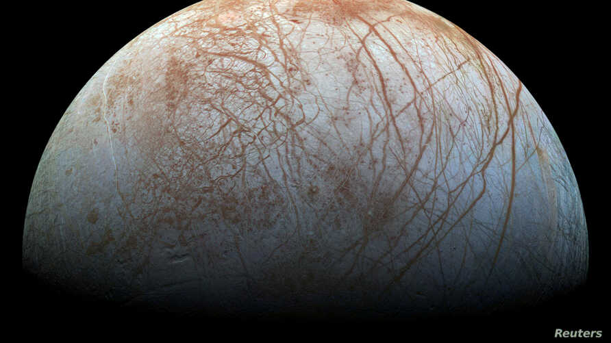 A view of Jupiter's moon Europa created from images taken by NASA's Galileo spacecraft in the late 1990's, according to NASA, obtained by Reuters May 14, 2018.