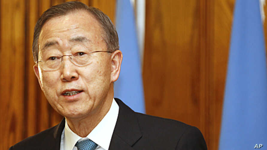 U.N. Secretary-General Ban Ki-moon talks during a press conference in Amman, Jordan, his first stop on his Mideast tour, January 31, 2012.