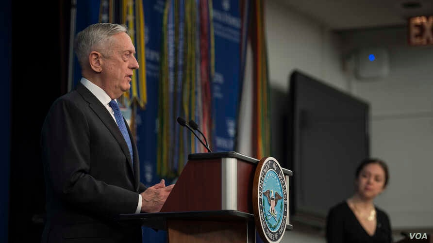 Secretary of Defense Jim Mattis announces the National Defense Strategy at Johns Hopkins University School of Advanced International Studies in Washington, Jan. 19.