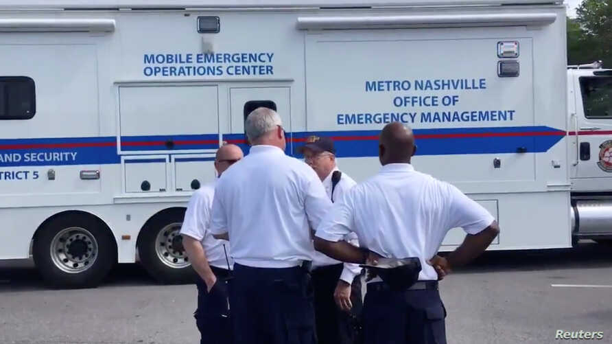 A Nashville Fire Department emergency operations center is seen outside of Opry Mills Mall in Nashville, Tennessee, May 3, 2018, in this still image obtained from a social media video.