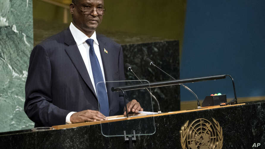 South Sudan's Vice President Taban Deng Gai addresses the United Nations General Assembly, Sept. 23, 2017, at U.N. headquarters.