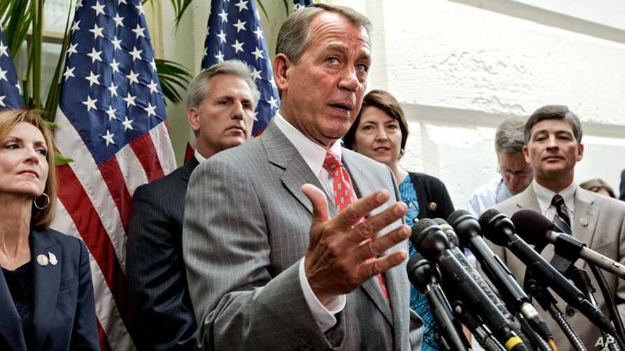 As Congress returns to work following the July 4th break and the Supreme Court decision to uphold President Obama's health care law, House Speaker John Boehner of Ohio, center, and other GOP House leaders face reporters after a closed-door political