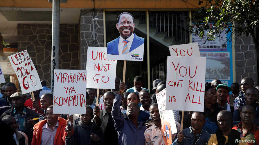 Supporters of Kenyan opposition leader Raila Odinga from the National Super Alliance coalition protest outside the Supreme Court in Nairobi, Kenya, Aug. 18, 2017.