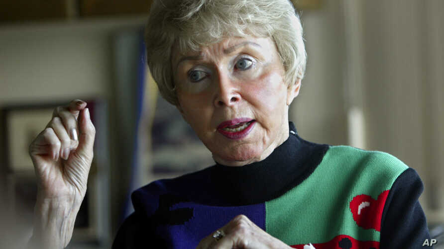 FILE - Audrey Geisel appears during an interview at her home in the La Jolla area of San Diego, Feb, 4, 2004. Geisel, widow of Dr. Seuss creator Theodor Geisel, died peacefully at home on Dec. 19, 2018, at age 97.