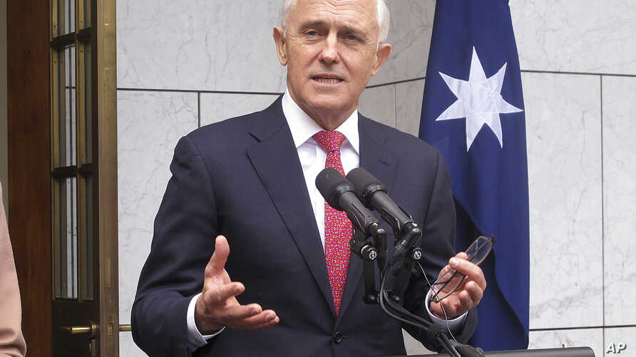Australian Prime Minister Malcolm Turnbull addresses reporters at Parliament House in Canberra, Aug. 21, 2018.