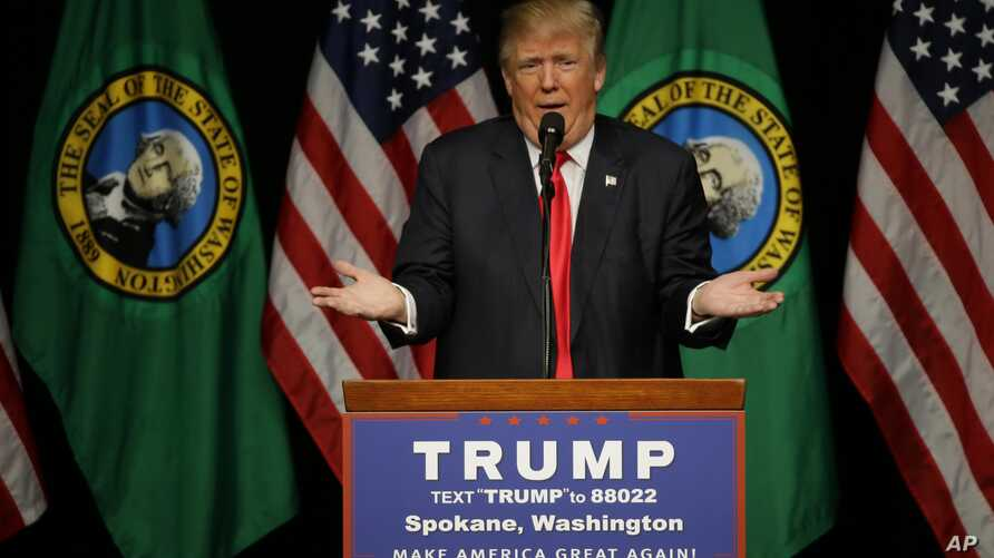 Republican presidential candidate Donald Trump speaks during a rally in Spokane, Wash., May 7, 2016.