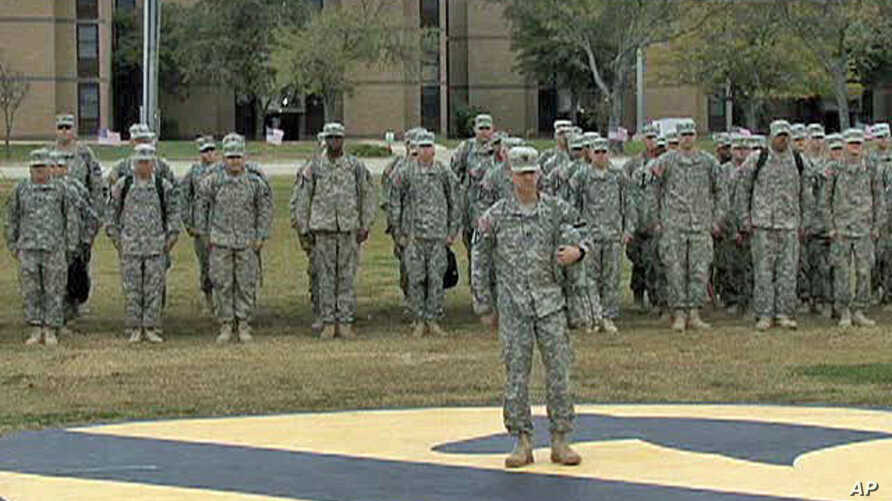 Soldiers in formation at Fort Hood in Texas
