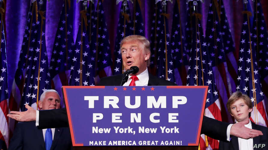 FILE - Republican president-elect Donald Trump delivers his acceptance speech during his election night event at the New York Hilton Midtown, Nov. 9, 2016.