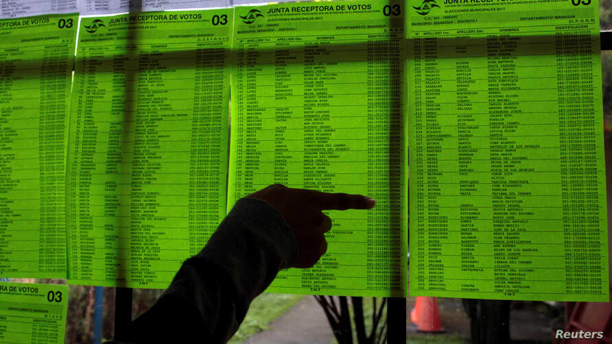 Voting lists for municipal elections are seen at a polling station in Managua, Nicaragua, Nov. 5, 2017.