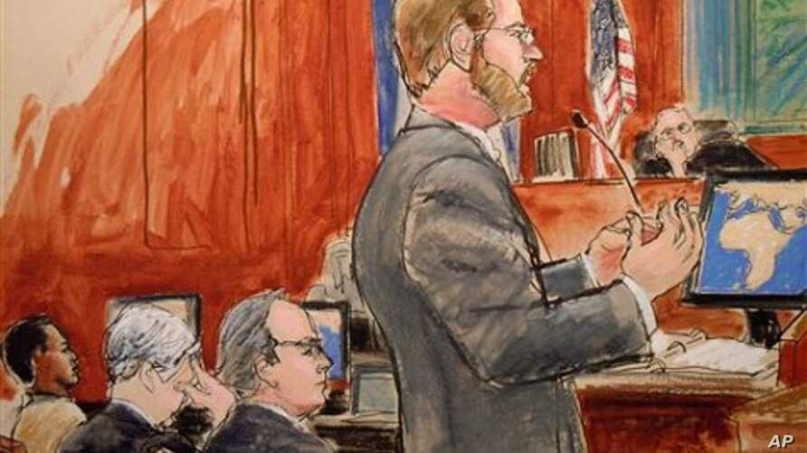 In this courtroom sketch, Assistant U.S. Attorney Nicholas Lewin, foreground, gives his opening statement to the jury in the trial of Ahmed Khalfan Ghailani, left, as lead defense attorney Steve Zissou, third from left, and Judge Lewin Kaplan, right,