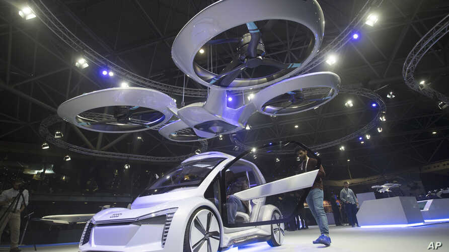 Pop.Up Next, a prototype designed by Audi, Airbus and Italdesign is displayed at the Amsterdam Drone Week in Amsterdam, Netherlands, Tuesday, Nov. 27, 2018.