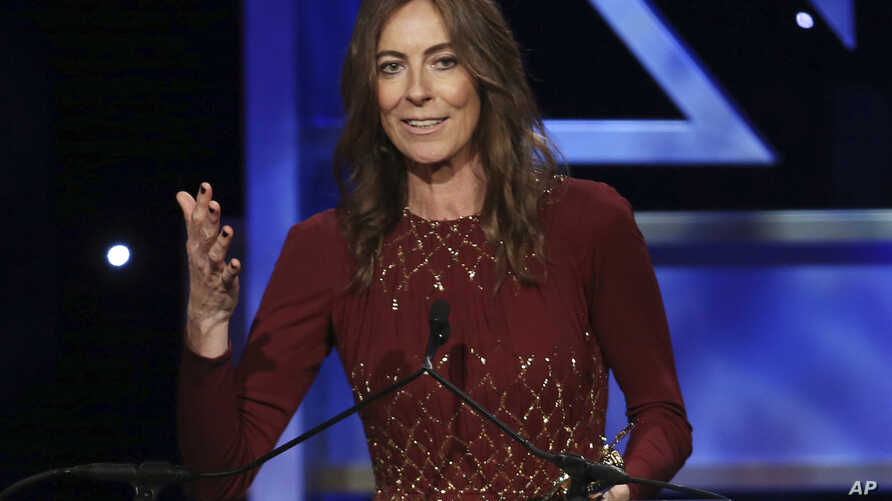 """FILE - In this Nov. 9, 2013 file photo, director Kathryn Bigelow accepts the John Schlesinger Britannia Award for Excellence in Directing during the 2013 BAFTA Los Angeles Britannia Awards in Beverly Hills, Calif. Bigelow directed the film """"Detroit."""""""