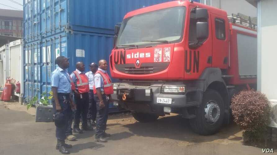 U.N. stabilization mission in Congo MONUSCO'S fire security unit with its fire truck in Goma, DRC, Sept. 2, 2016