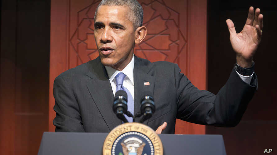 President Barack Obama speaks to members of the Muslim-American community at the Islamic Society of Baltimore, Feb. 3, 2016, in Baltimore, Md.