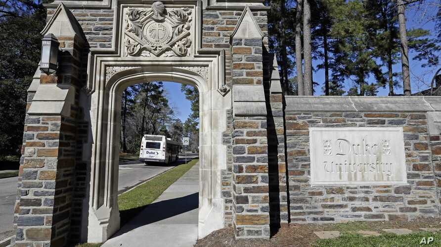 An entrance to the main Duke University campus is seen in Durham, N.C., Monday, Jan. 28, 2019.