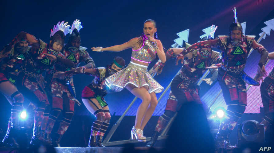 "US singer Katy Perry performs during ""Prismatic World tour"" at the Arena Monterrey in Monterrey, Nuevo Leon State, Mexico, Oct. 14, 2014."
